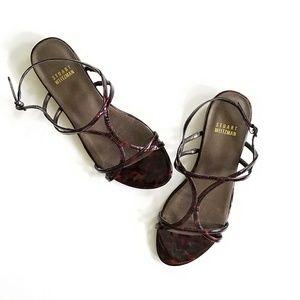 STUART WEITZMAN patent tortoise shell flat sandals